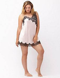 Satin chemise with asymmetric lace