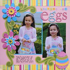 easter egg page  *for a boy's page just replace all the flower with eggs!