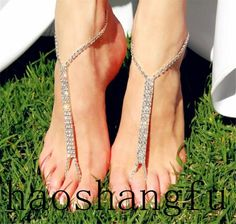 2015 Romantic Beach Wedding Silver Beads Crystal Adjust Barefoot Anklet Sandals