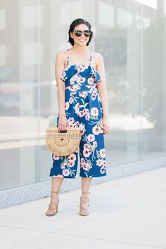 Seven Budget Friendly Floral Jumpsuit, summer jumpsuit, cult gaia ark bag, an alternative to a dress, summer fashion, vacation outfit