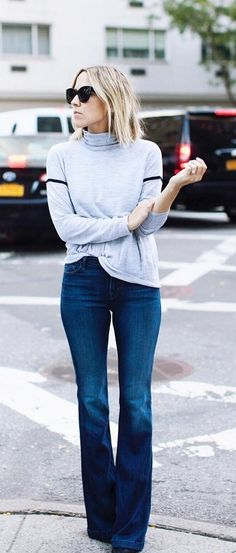 Turtleneck With Flared Jeans