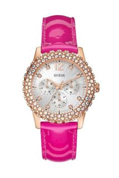 Pink and Rose Gold-Tone Shimmering Sport Watch | GUESS.com