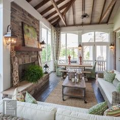 Two story double porch with outdoor fireplace, travertine patio, and AZEK deck - contemporary - porch - nashville - The Porch Company Screened Porch Designs, Home, Porch Fireplace, House Design, House With Porch, Outdoor Decor, Outdoor Living, Building A Porch