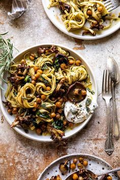 Slow Roasted Mushroom Pasta with Crisp Rosemary Chickpeas | halfbakedharvest.com
