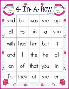 FREE 4-In-A-Row sight word game board.