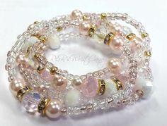 Pink Beaded Bracelets Gold Whie Bracelet Set by RandRsWristCandy