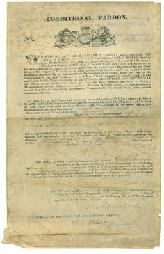 Conditional pardon granted to Patrick Geraghty by Lieutenant General Ralph Darling, Governor of New South Wales. Pardon granted by Darling on 11 March 1830; grant confirmed by Darling, after approval by the Secretary of State for the Colonies, on 21 June 1831. Mitchell Library, State Library of New South Wales: http://www.acmssearch.sl.nsw.gov.au/search/itemDetailPaged.cgi?itemID=423843