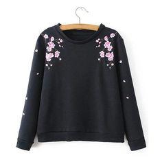 Yoins Black Crew Neck Wintersweet Embroidery Pattern Sweatshirt ($29) ❤ liked on Polyvore featuring tops, hoodies, sweatshirts, black, long sleeve sweatshirt, floral tops, crewneck sweatshirt, print sweatshirt and patterned sweatshirt