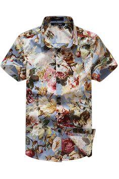 Floral Print Short-Sleeved Shirt