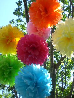 Birthday Party Decorations Hanging Poms