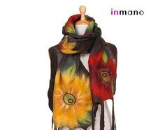 SALE brown nuno felted scarf evening sunflowers silk от inmano