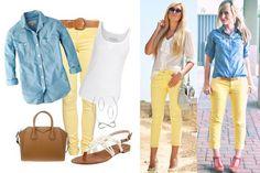 Combinación pantalón amarillo claro