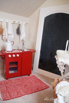 vintage playroom | red kitchen