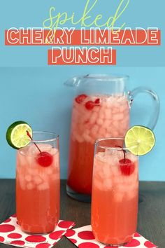 The Best Spiked Cherry Limeade Punch cocktails for a crowd flavored vodka cherry vodka limeade sonic copycat recipe easy cocktail recipe summer cocktail vodka cherry limeade homemade limeade Cocktails Vodka, Beste Cocktails, Easy Cocktails, Cocktail Drinks, Bourbon Drinks, Alcoholic Beverages, Cherry Limeade Vodka, Cherry Lemonade, Cherry Vodka Drinks
