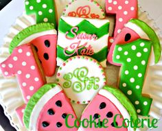 Watermelon Decorated Cookies One In A Melon Themed Birthday Party Cookie Favors One Dozen
