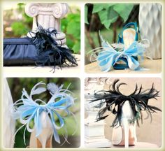 Shoe Clips Blue White Anemone Plumes Bow French by sofisticata, $80.00