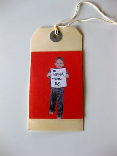 DIY - How fun are these gift tags?! Take a picture of your kid, your dog or you, and make into a tag! Tutorial