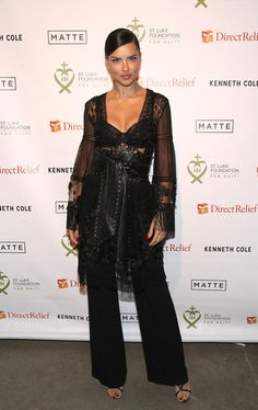 Adriana Lima Sheer Dress - Adriana Lima struck the perfect balance between sultry and edgy with this sheer, studded lace and leather number by Alberta Ferretti at the 2017 St. Luke Foundation for Haiti benefit.