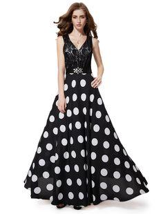 Black lace bodice with black and white polka dot full skirt