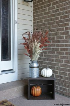 Fall Porch Decor Ideas - A Cup Full of Sass Fall Front Porch Decor. An easy way to decorate for Fall with galvanized milk can, fall foliage and simple pumpkins in a black crate. Small Porch Decorating, Design Patio, Web Design, Modern Design, Design Ideas, Small Porches, Front Porches, House With Porch, Outside House Decor