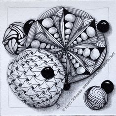 INKtober #2 zentangle full of freehand circles filled with cadent, gneiss with purk and paradox, kozy, cruffle, and black pearls.