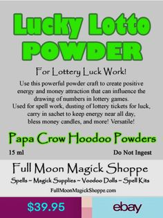 All Papa Crow Hoodoo Powders are handcrafted for you by Papa Crow using his knowledge and experience. Dust your lottery tickets with the powder. Carry a sachet of powder when buying your tickets each week. Hoodoo Spells, Magick, Wiccan Spells Money, Wiccan Witch, Magic Spells, Pagan, Easy Spells, Good Luck Spells, Money Spells That Work