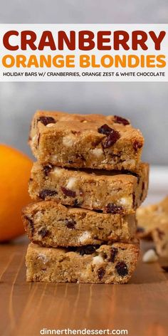 Cranberry Orange Blondies are brown sugar brownies with dried cranberries, orange zest, and white chocolate chips, perfect for the holidays! #dessert #holidays #blondies #brownies #holidaybaking #cranberry #oranges #dinnerthendessert