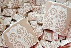 Mosaic Tiles--Sand Lace /Owls---100 Tiles. $18.00, via Etsy.