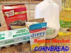 Boston Market Cornbread - Can't Stay Out of the Kitchen Jiffy Mix Recipes, Jiffy Cornbread Recipes, Sweet Cornbread, Cake Mix Recipes, Dog Food Recipes, Cornbread With Cake Mix Recipe, Cornbread Casserole, Cake Mixes, Fall Recipes