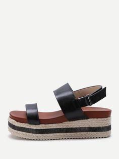 Sparkle Strappy Espadrille Flatform Sandals