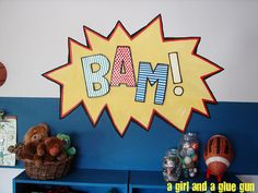 Vincent LOVES superheros right now totally making this for the playroom :)