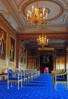The Garter Throne Room, Windsor Castle - my favorite room in Windsor Castle. The royal blue carpet and chairs and the rich, dark carved wood paneling and gilt are indescribably beautiful in person!