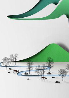Paper Landscape Illustrated by Eiko Ojala
