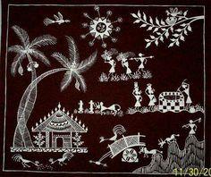 Warli Warli Madhubani Art, Madhubani Painting, Worli Painting, Fabric Painting, Indian Arts And Crafts, Indian Folk Art, Indian Art Paintings, Aboriginal Art, Mural Art