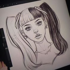 Art Sketches Easy - Melanie Martinez ( Littlebody Bigheart ) sketch 🙊 I'm really getting used t. Girl Drawing Sketches, Cool Art Drawings, Pencil Art Drawings, Realistic Drawings, Beautiful Drawings, Easy Drawings, Tumblr Sketches, Sketch It, Drawing Tips