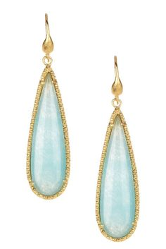 18K Gold Clad Textured Bezel Elongated Caribbean Blue Quartzite Teardrop Dangle Earrings $56 originally $275