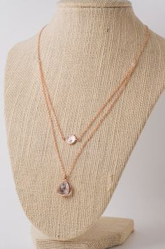 Rose gold necklace multi strand with charm and by AirPlaneSimple, $19.00