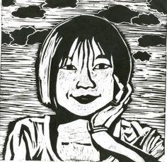 Asilleen, 'Girl'. Lino print. July/August 2009.
