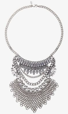 For Her: Layered Stone And Chain Mail Bib Necklac @Express