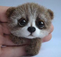Neede Felted Brooch Brown Bear Stuffed Handmade Artist Wool Miniature 3in #Handmade