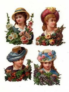 Die Cut Scrap GIRLS w/ HATS 19th Century (04/02/2007)