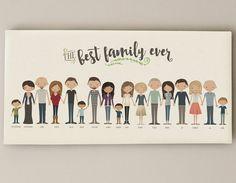 Extended Family Portrait • Grandparent Gift Custom Family Illustration • Grandma Grandpa Present • Canvas Family Portrait Personalized Gift