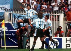 Ariel Ortega, Diego Simeone and Gabriel Batistuta celebrate for Argentina.