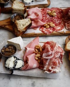 Charcuterie and cheese boards at La Pecora Bianca in New York.from noleftovers cc and Charcuterie Recipes, Charcuterie And Cheese Board, Cheese Boards, Leftovers Recipes, Prosciutto, Dessert Recipes, Desserts, Dairy, Food Travel