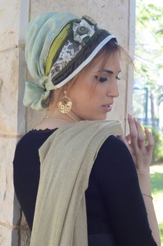 Olive collection tichel headscarf by Atarahdesigns on Etsy, ₪85.00