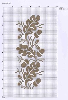 Oak leaf cross-stitching chart