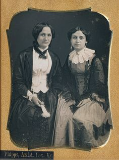 Quarter plate daguerreotype of 2 stylish ladies by Phipps of Lexington, Kentucky circa 1850's