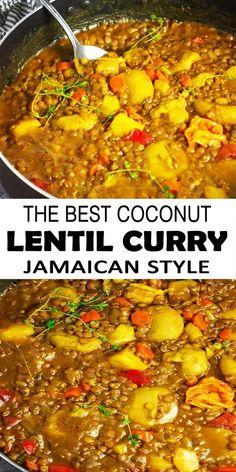 Tasty Vegetarian Recipes, Lentil Recipes, Vegan Dinner Recipes, Curry Recipes, Indian Food Recipes, Cooking Recipes, Cooking Food, Vegetarian Cooking, Vegan Soul Food Recipes