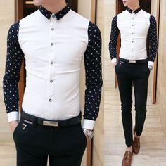 Top Fashion Men's Luxury Long Sleeve Casual Slim Fit Stylish Dress Shirt Button