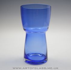 Riihimaki blue glass vase.